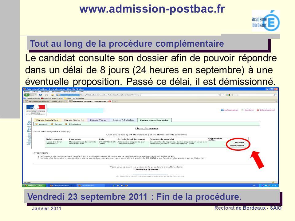 www.admission-postbac.fr Tout au long de la procédure complémentaire.