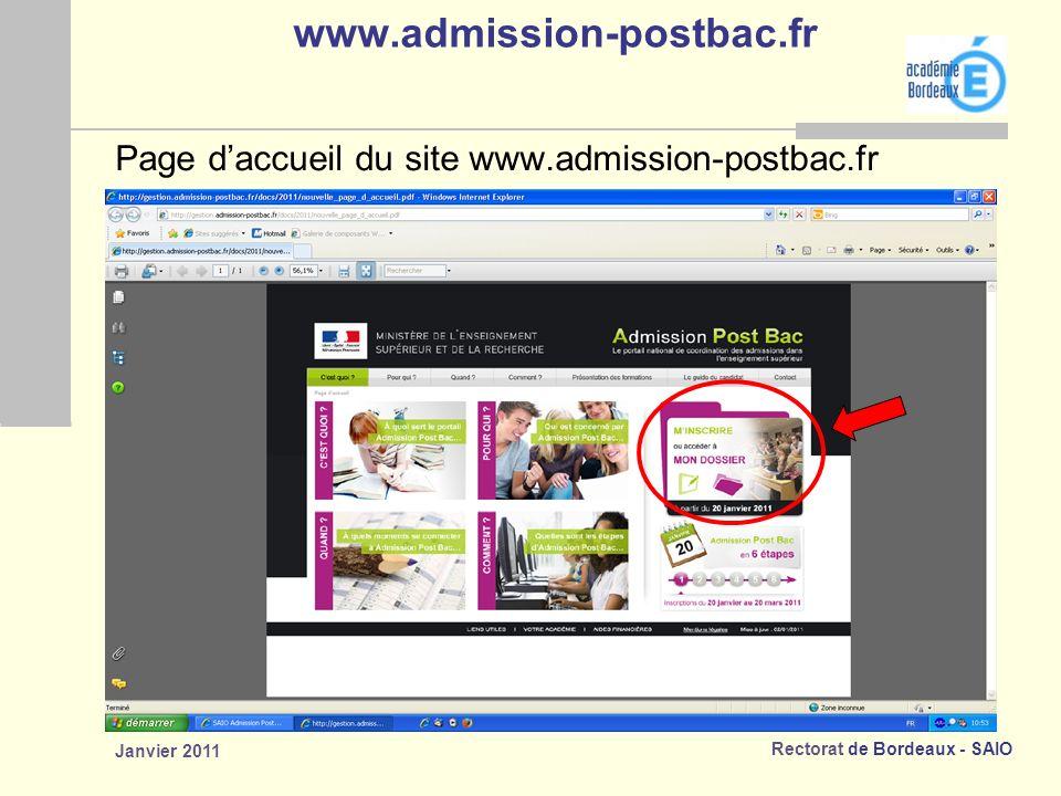 www.admission-postbac.fr Page d'accueil du site www.admission-postbac.fr Janvier 2011