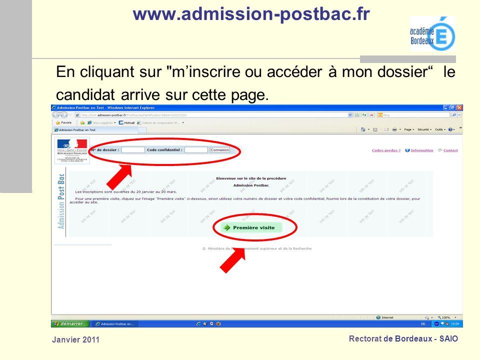 www.admission-postbac.fr En cliquant sur m'inscrire ou accéder à mon dossier le. candidat arrive sur cette page.