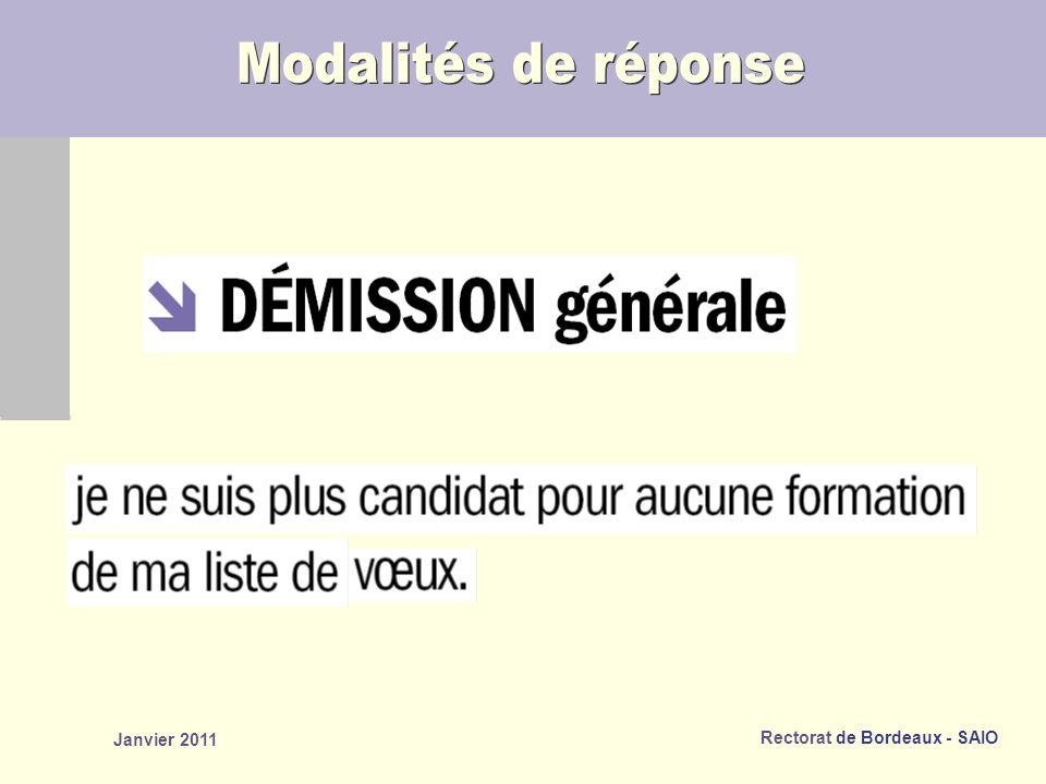 Modalités de réponse Janvier 2011 janvier 2011 82