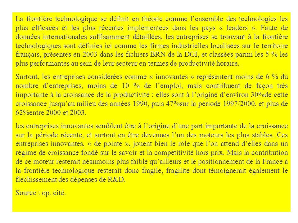 La frontière technologique se définit en théorie comme l'ensemble des technologies les plus efficaces et les plus récentes implémentées dans les pays « leaders ». Faute de données internationales suffisamment détaillées, les entreprises se trouvant à la frontière technologiques sont définies ici comme les firmes industrielles localisées sur le territoire français, présentes en 2003 dans les fichiers BRN de la DGI, et classées parmi les 5 % les plus performantes au sein de leur secteur en termes de productivité horaire.