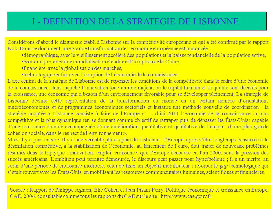 I - DEFINITION DE LA STRATEGIE DE LISBONNE