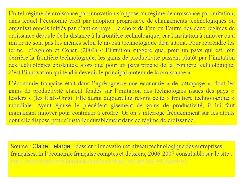Un tel régime de croissance par innovation s'oppose au régime de croissance par imitation, dans lequel l'économie croît par adoption progressive de changements technologiques ou organisationnels initiés par d'autres pays. Le choix de l'un ou l'autre des deux régimes de croissance découle de la distance à la frontière technologique, car l'incitation à innover ou à imiter ne sont pas les mêmes selon le niveau technologique déjà atteint. Pour reprendre les terme d'Aghion et Cohen (2004) « l'intuition suggère que, pour un pays qui est loin derrière la frontière technologique, les gains de productivité passent plutôt par l'imitation des technologies existantes, alors que pour un pays proche de la frontière technologique, c'est l'innovation qui tend à devenir le principal moteur de la croissance ».