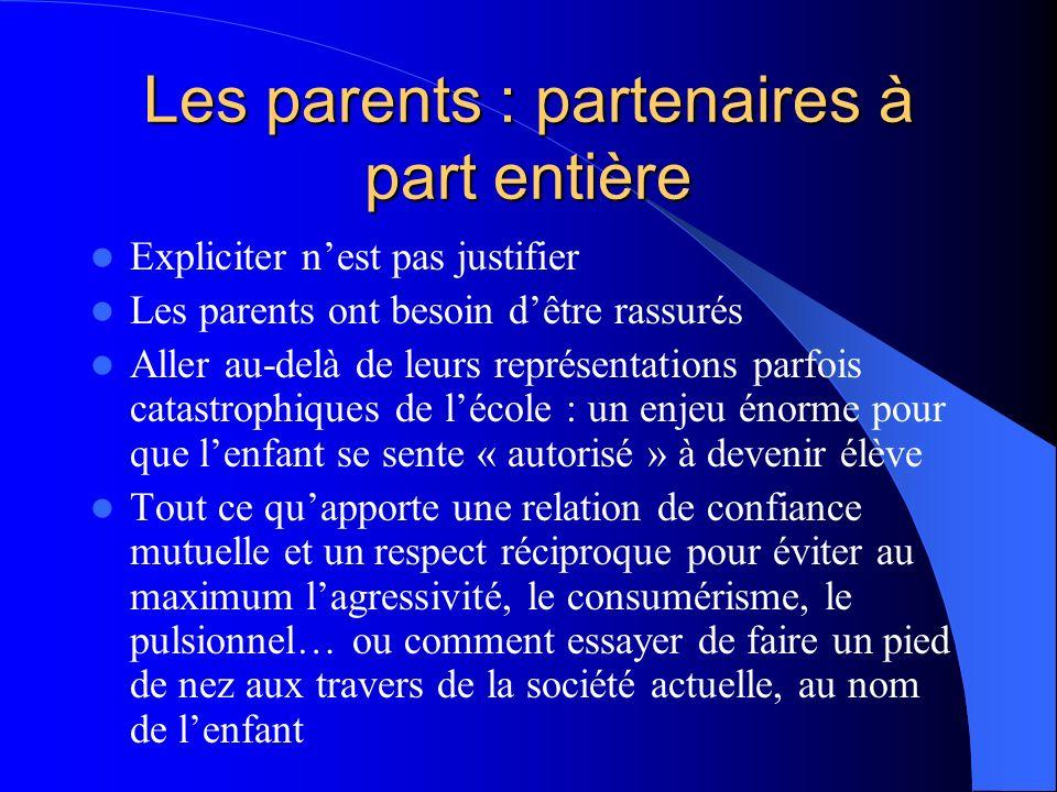 Les parents : partenaires à part entière