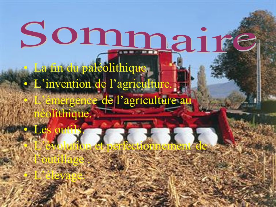 Sommaire La fin du paléolithique. L'invention de l'agriculture.