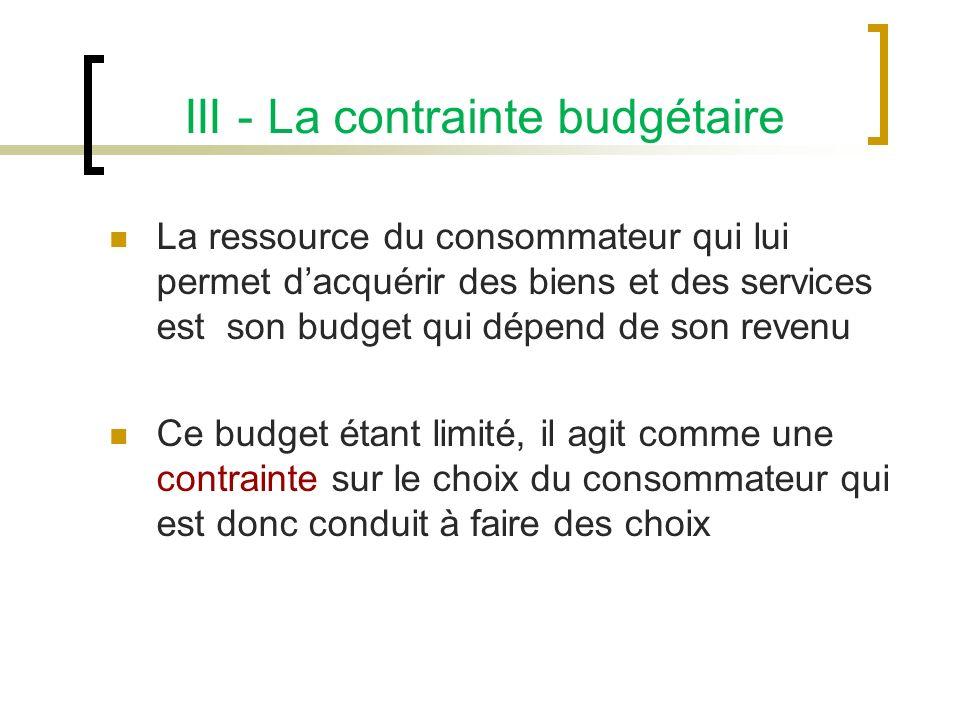 III - La contrainte budgétaire