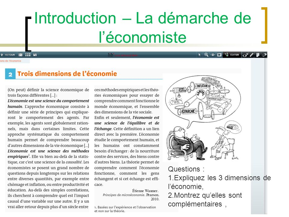 Introduction – La démarche de l'économiste