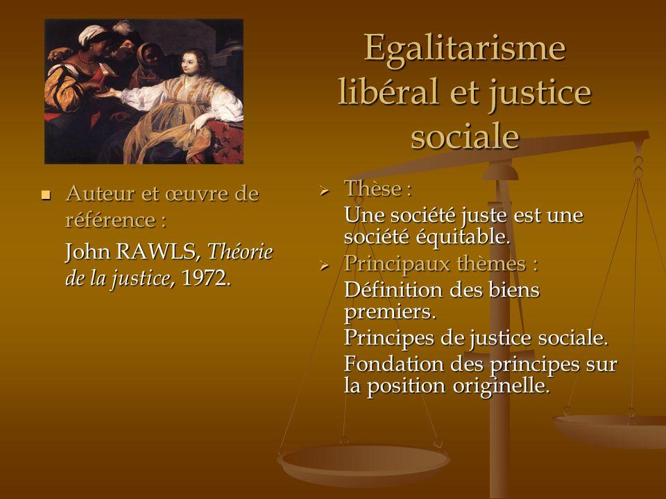Egalitarisme libéral et justice sociale