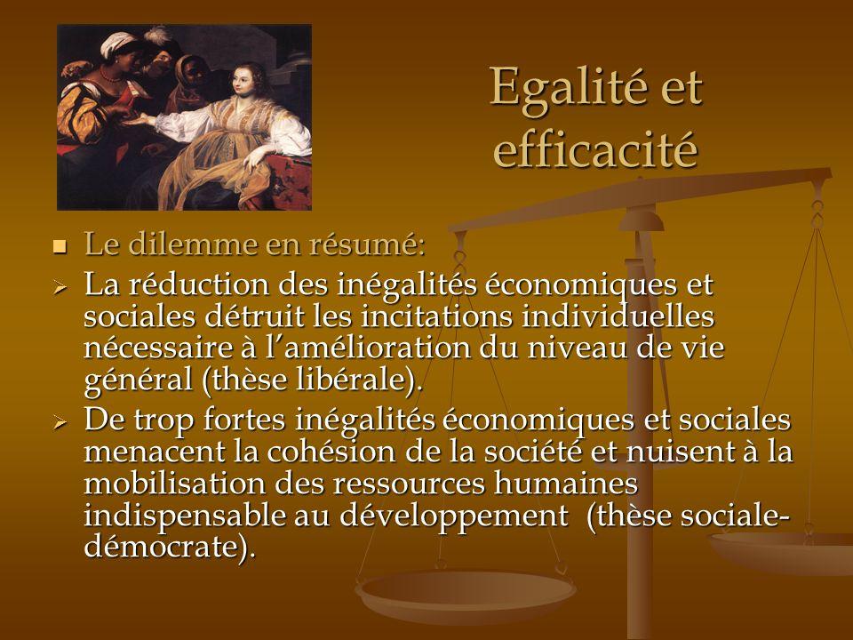 Egalité et efficacité Le dilemme en résumé: