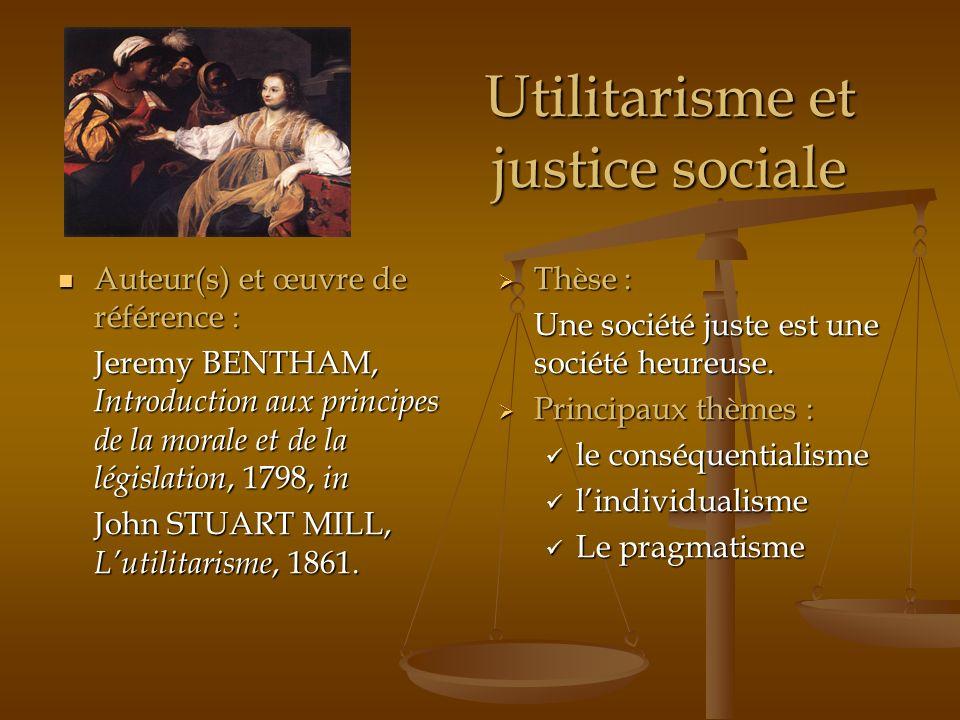 Utilitarisme et justice sociale
