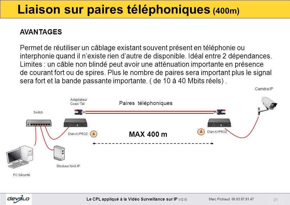 Liaison sur paires téléphoniques (400m)