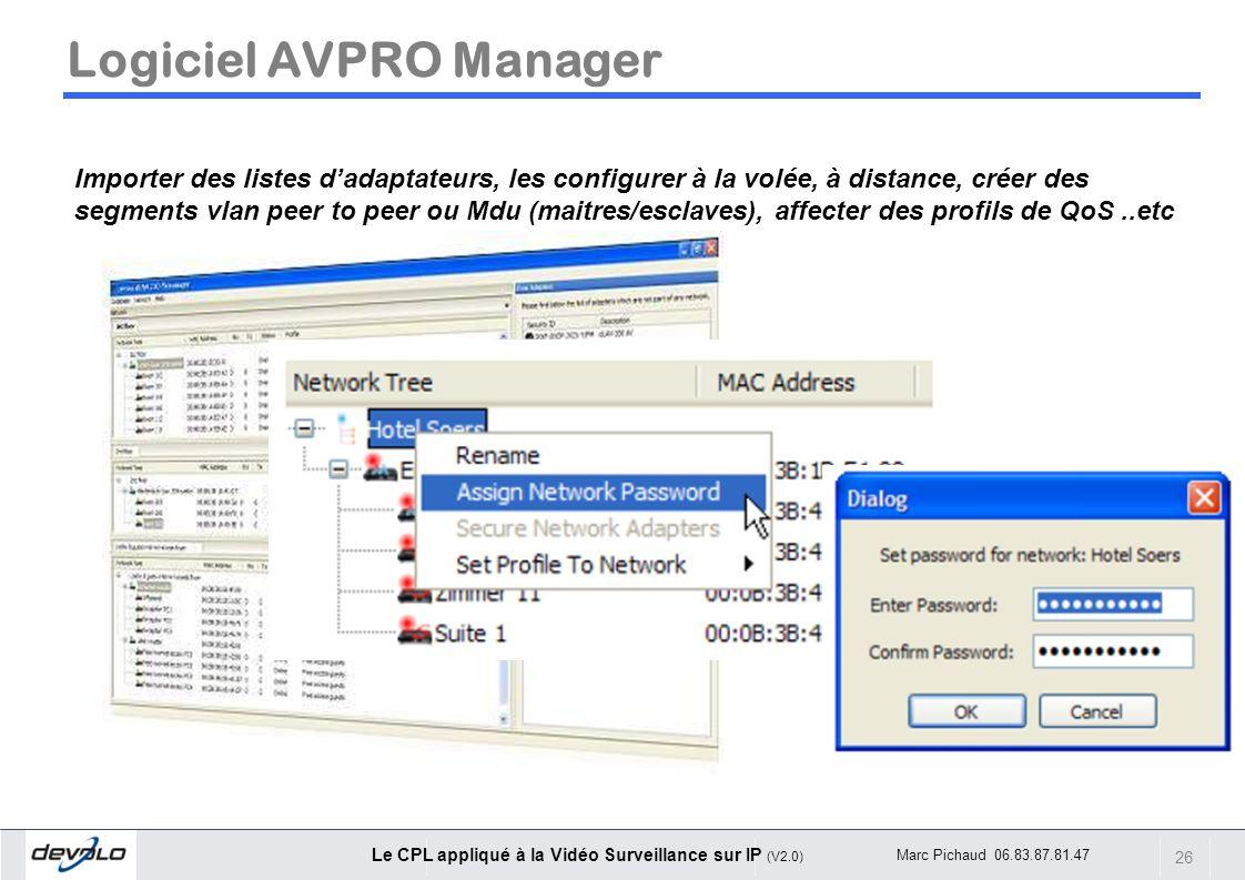 Logiciel AVPRO Manager