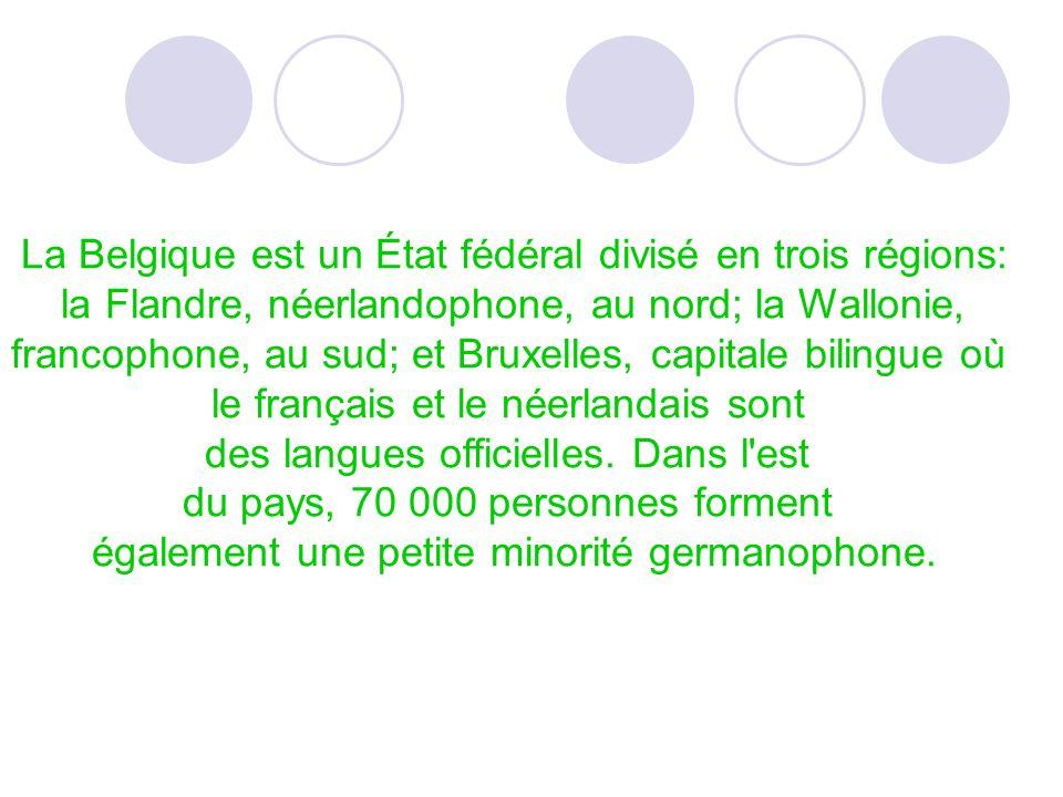La Belgique est un État fédéral divisé en trois régions: