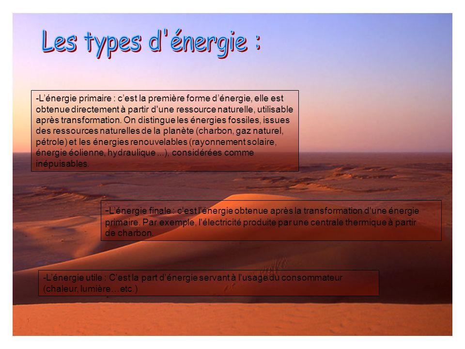 Les types d énergie : L'énergie primaire : c'est la première forme d'énergie, elle est.