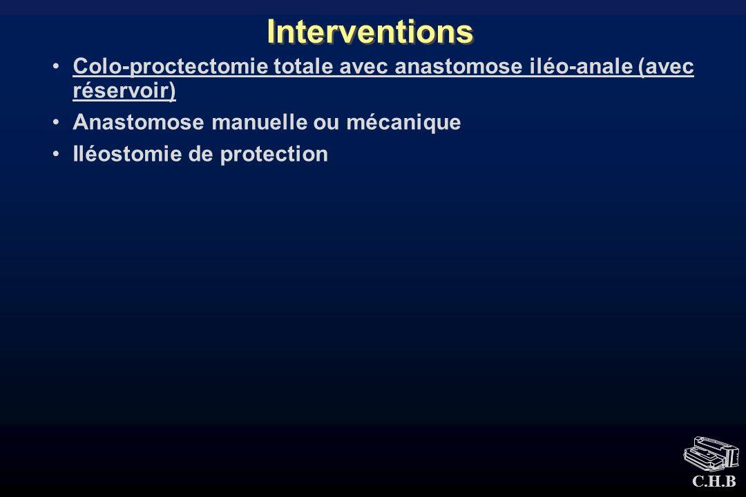 Interventions Colo-proctectomie totale avec anastomose iléo-anale (avec réservoir) Anastomose manuelle ou mécanique.