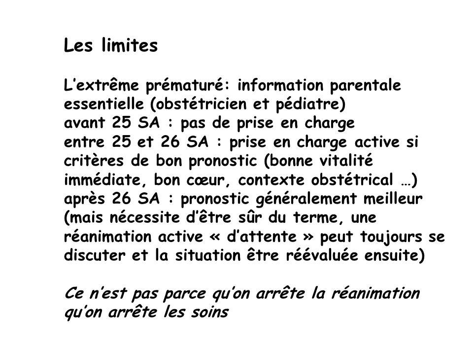 Les limites L'extrême prématuré: information parentale essentielle (obstétricien et pédiatre) avant 25 SA : pas de prise en charge.
