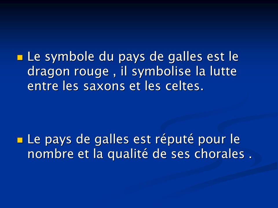 Le symbole du pays de galles est le dragon rouge , il symbolise la lutte entre les saxons et les celtes.