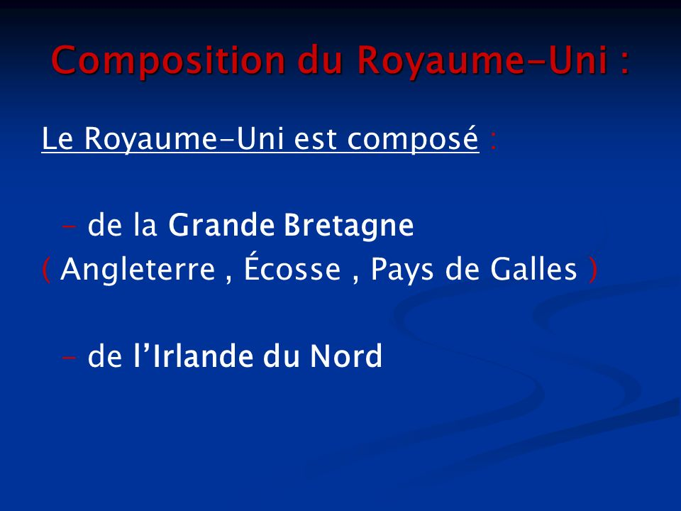 Composition du Royaume-Uni :