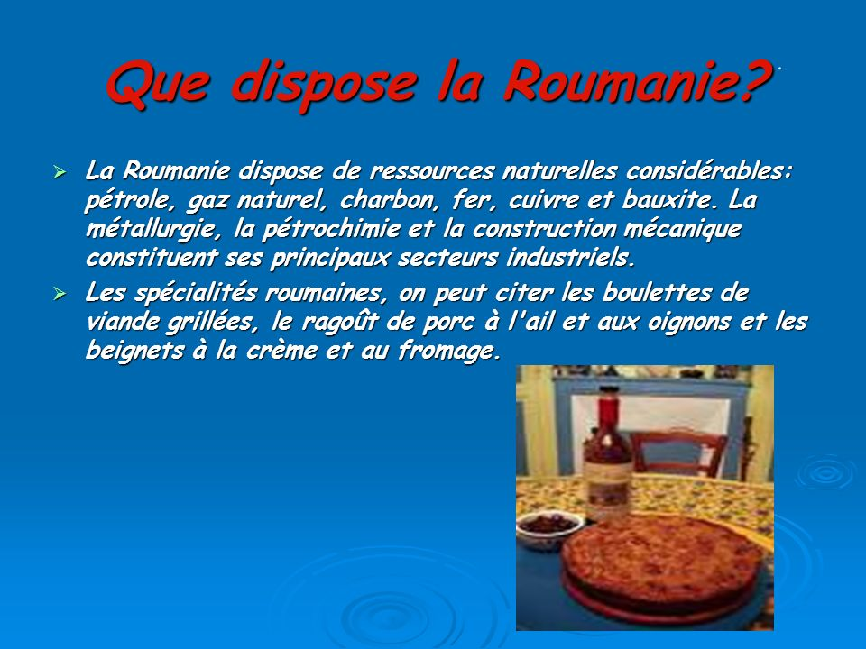 Que dispose la Roumanie
