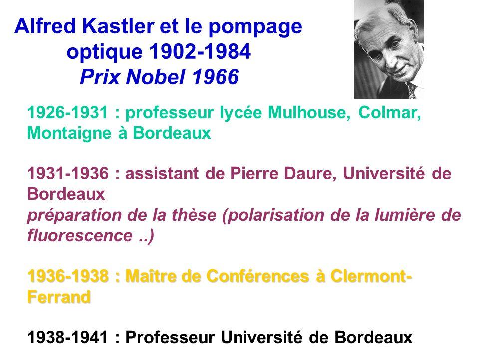 Alfred Kastler et le pompage optique 1902-1984 Prix Nobel 1966