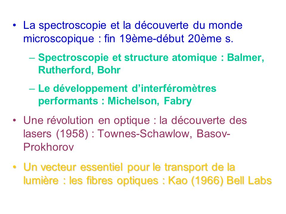 La spectroscopie et la découverte du monde microscopique : fin 19ème-début 20ème s.
