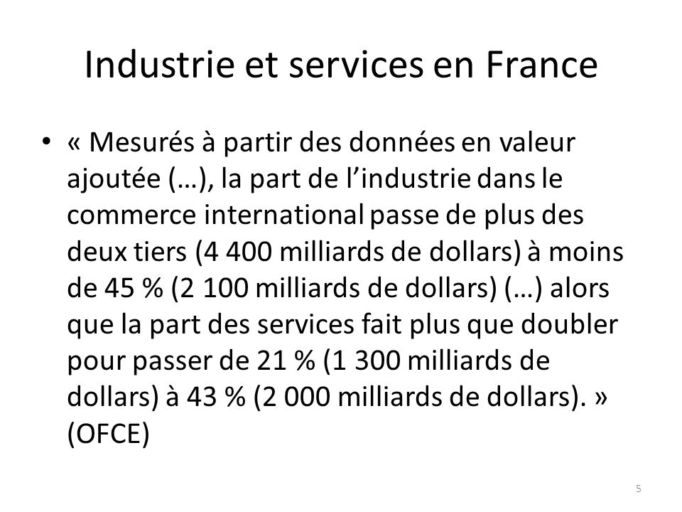 Industrie et services en France