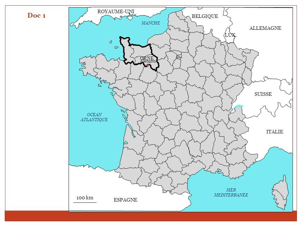 Doc 1 ROYAUME-UNI BELGIQUE ALLEMAGNE LUX. SUISSE ITALIE 100 km ESPAGNE