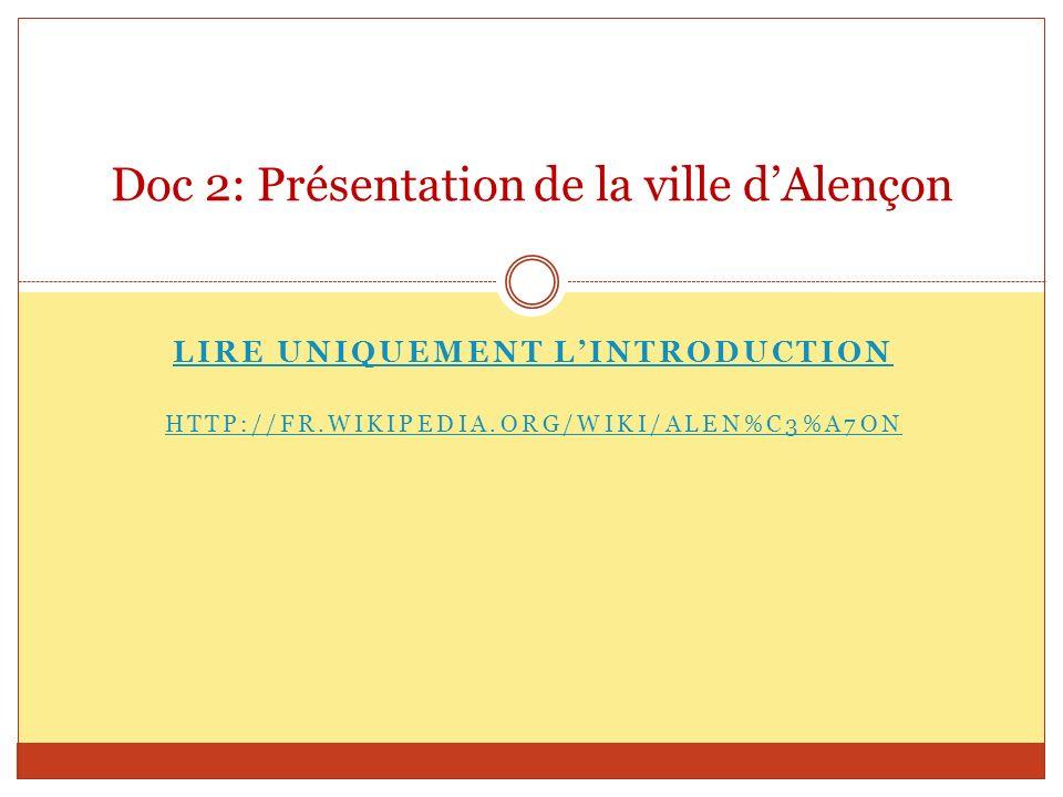 Doc 2: Présentation de la ville d'Alençon