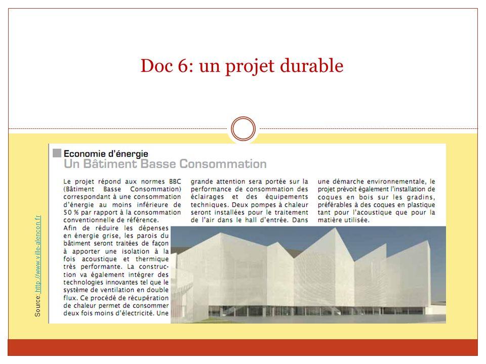 Doc 6: un projet durable Source: http://www.ville-alencon.fr