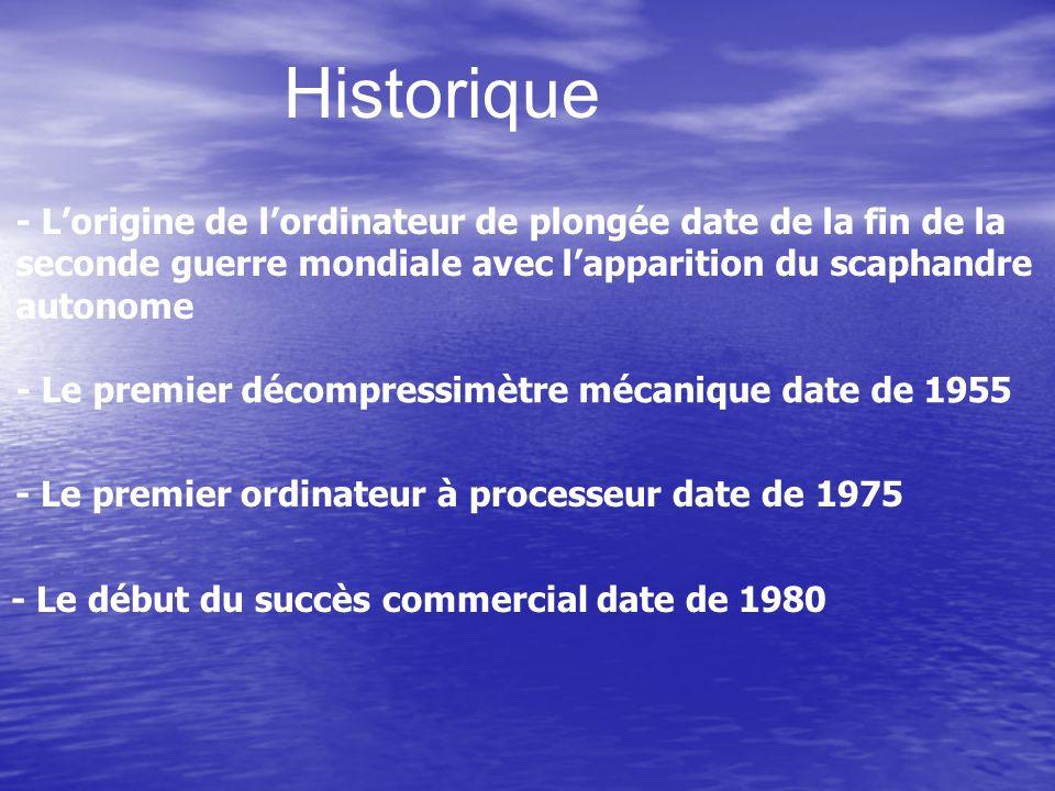 Historique - L'origine de l'ordinateur de plongée date de la fin de la