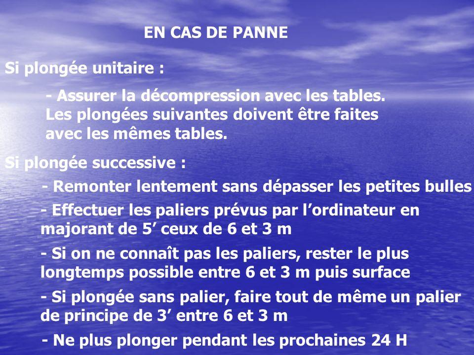 EN CAS DE PANNE Si plongée unitaire : - Assurer la décompression avec les tables. Les plongées suivantes doivent être faites.