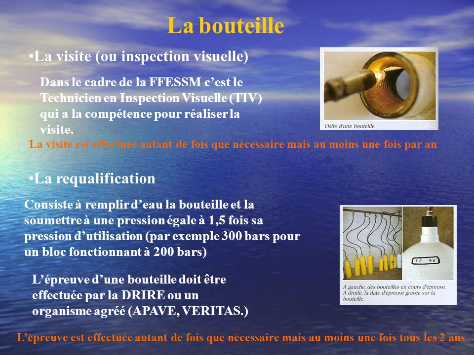 La bouteille La visite (ou inspection visuelle)‏ La requalification