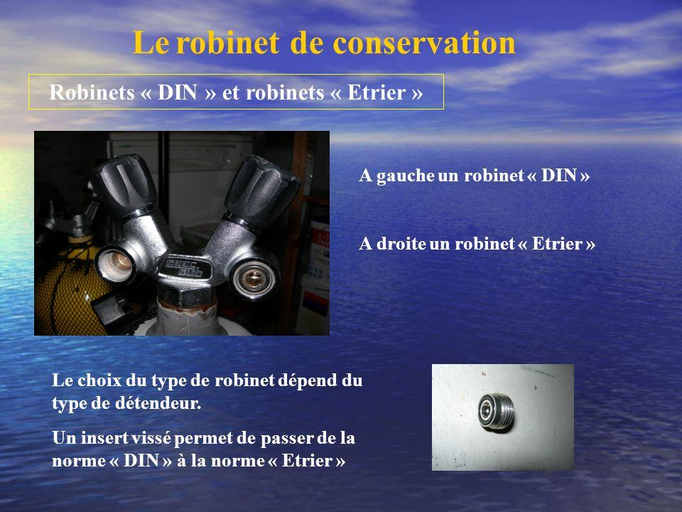Robinets « DIN » et robinets « Etrier »