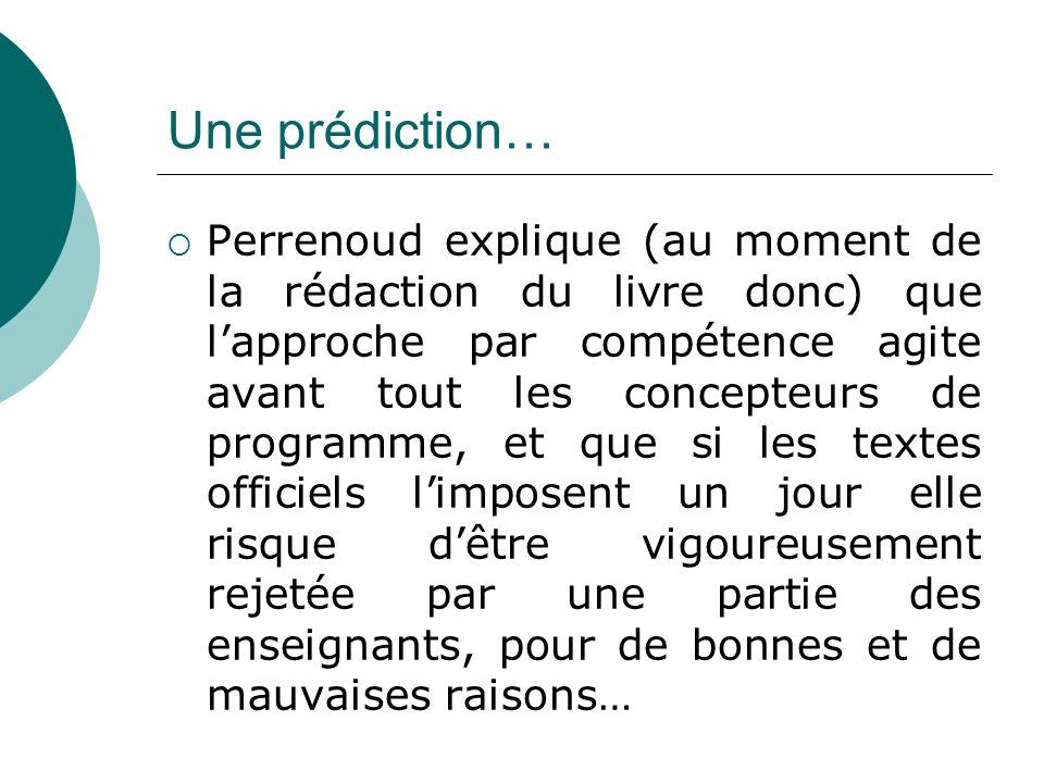 Une prédiction…