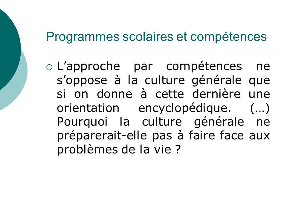 Programmes scolaires et compétences