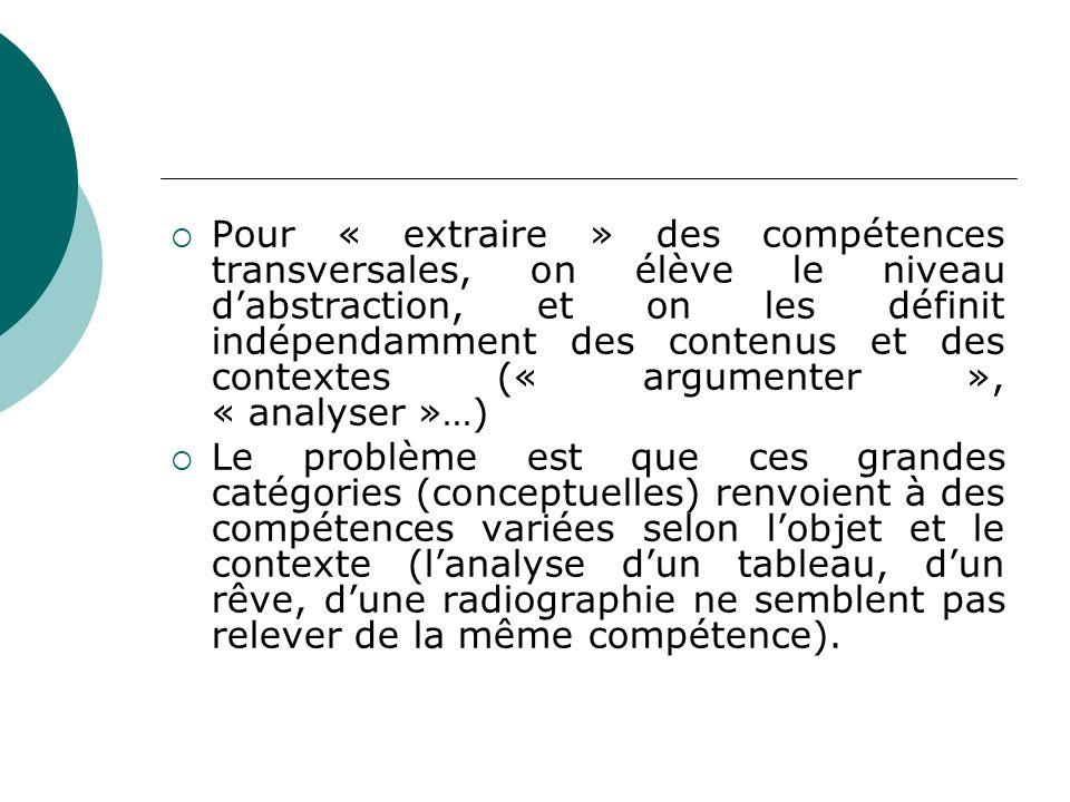 Pour « extraire » des compétences transversales, on élève le niveau d'abstraction, et on les définit indépendamment des contenus et des contextes (« argumenter », « analyser »…)