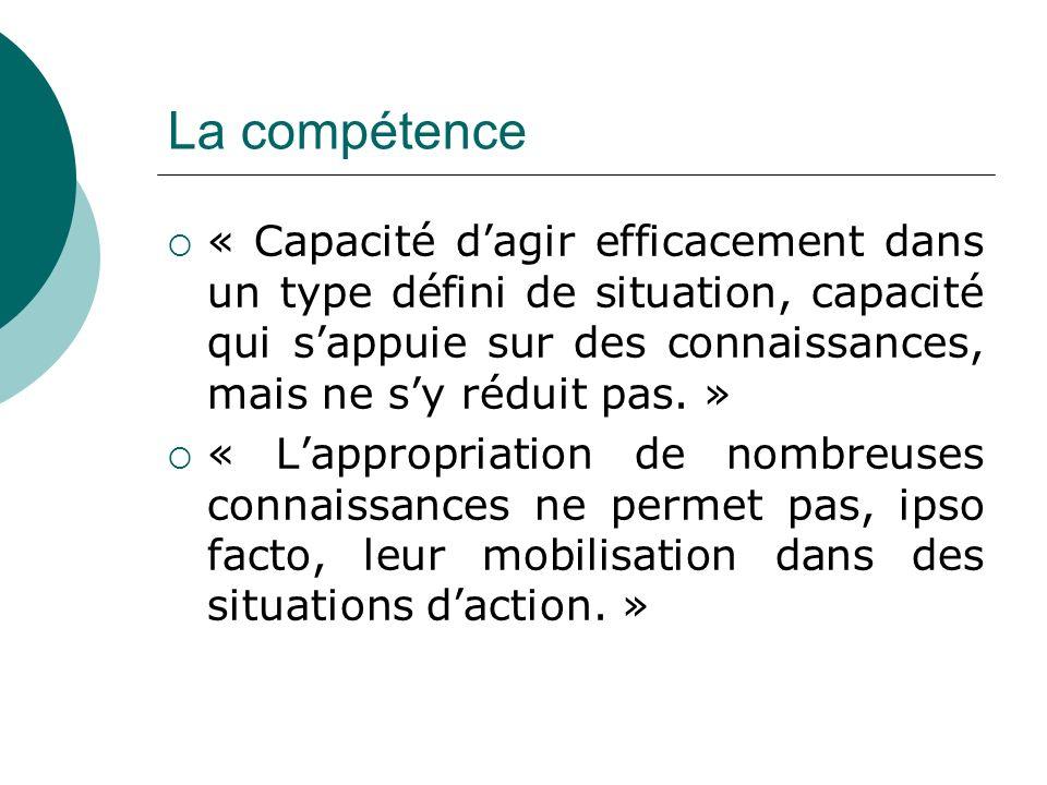La compétence « Capacité d'agir efficacement dans un type défini de situation, capacité qui s'appuie sur des connaissances, mais ne s'y réduit pas. »