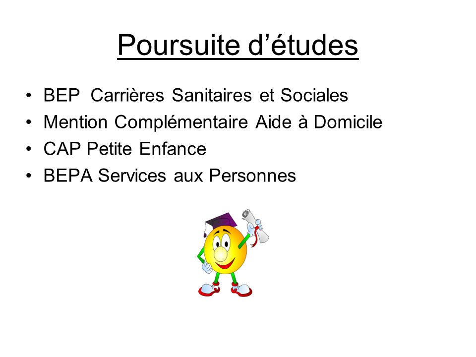 Poursuite d'études BEP Carrières Sanitaires et Sociales