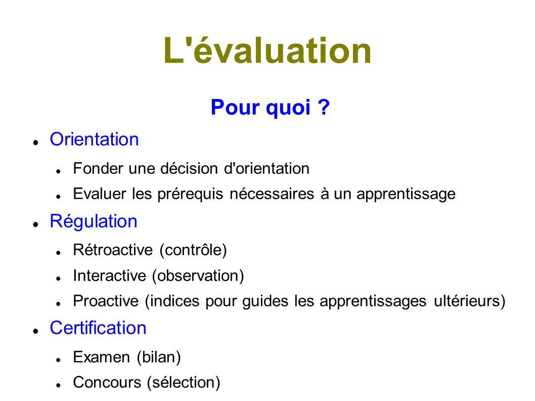 L évaluation Pour quoi Orientation Régulation Certification