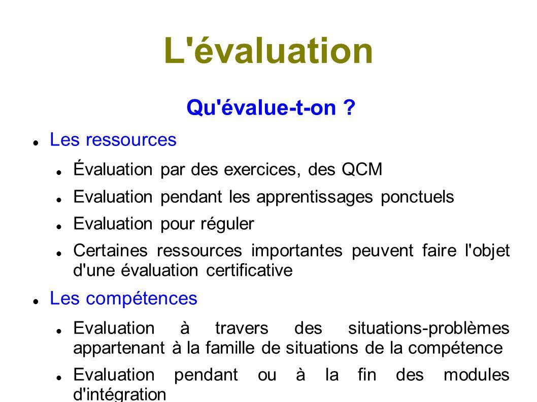 L évaluation Qu évalue-t-on Les ressources Les compétences