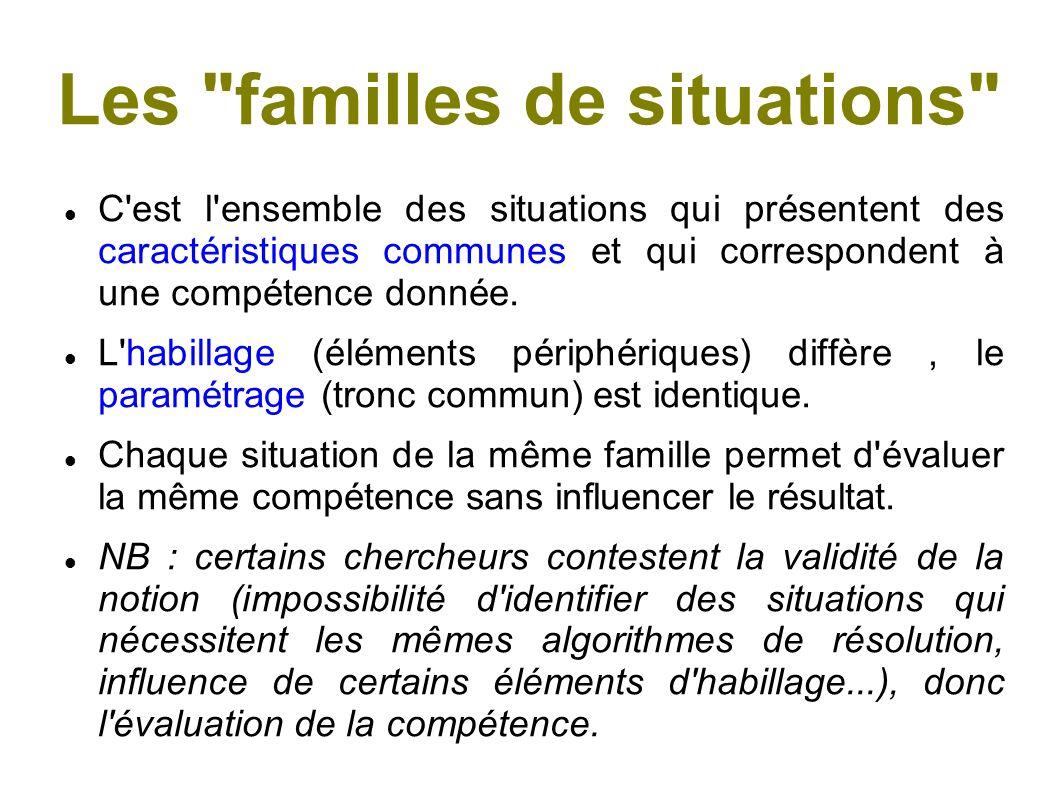Les familles de situations