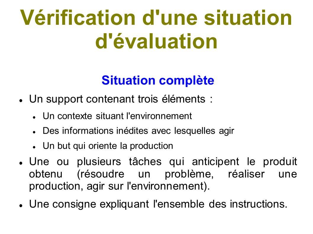 Vérification d une situation d évaluation