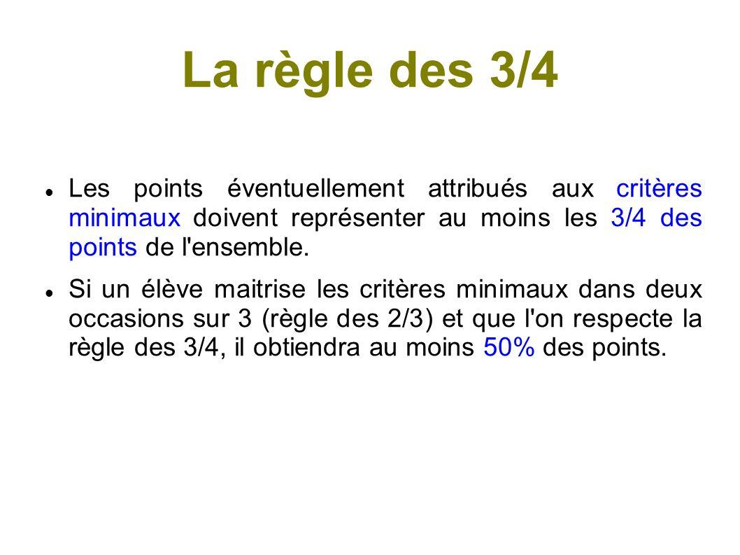 La règle des 3/4 Les points éventuellement attribués aux critères minimaux doivent représenter au moins les 3/4 des points de l ensemble.