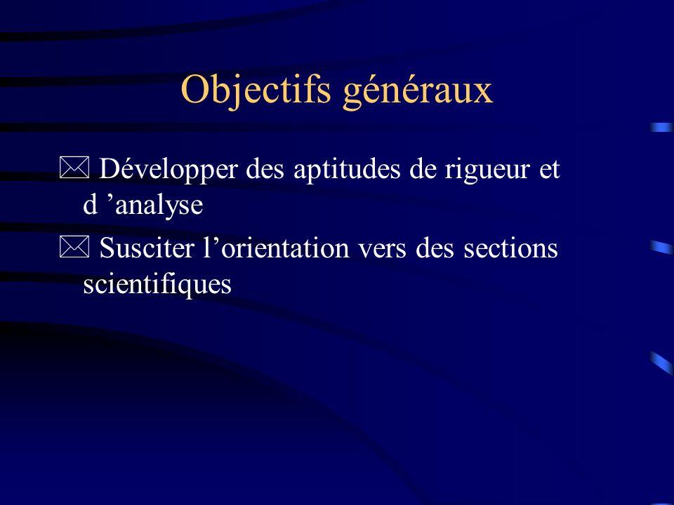 Objectifs généraux Développer des aptitudes de rigueur et d 'analyse