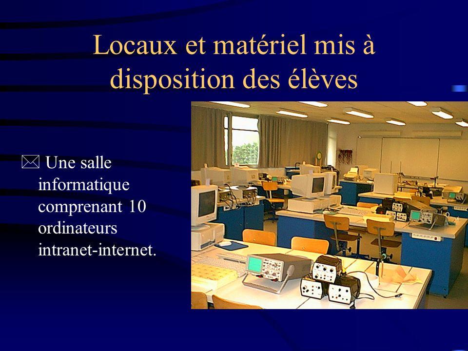 Locaux et matériel mis à disposition des élèves