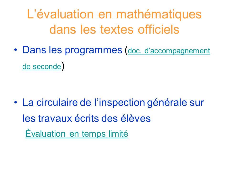 L'évaluation en mathématiques dans les textes officiels