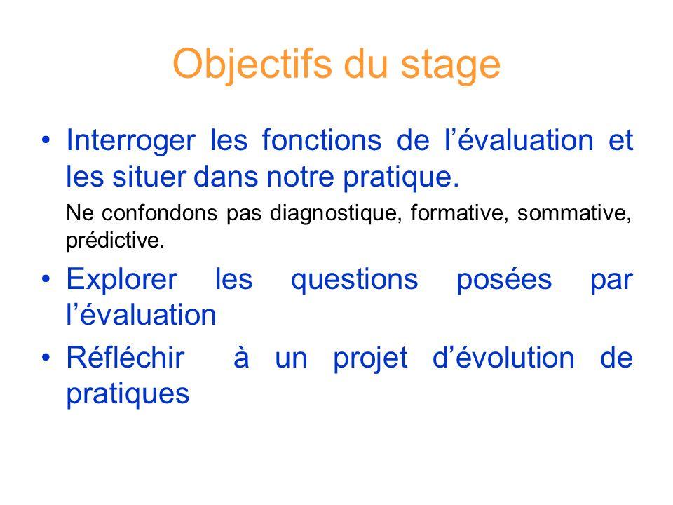 Objectifs du stage Interroger les fonctions de l'évaluation et les situer dans notre pratique.