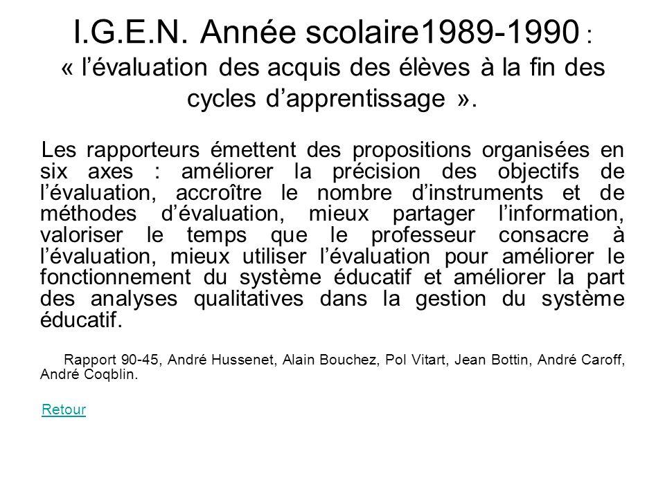 I.G.E.N. Année scolaire1989-1990 : « l'évaluation des acquis des élèves à la fin des cycles d'apprentissage ».