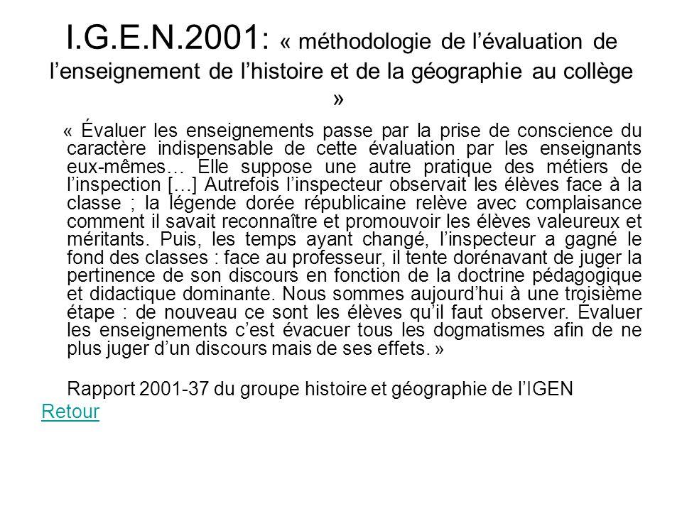 I.G.E.N.2001: « méthodologie de l'évaluation de l'enseignement de l'histoire et de la géographie au collège »