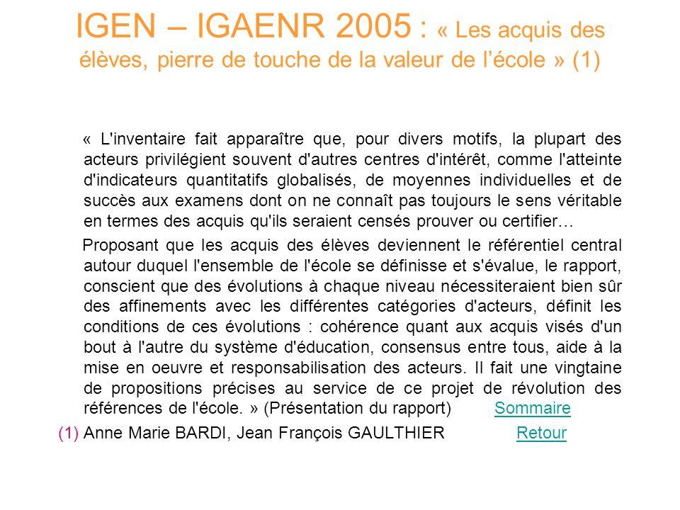 IGEN – IGAENR 2005 : « Les acquis des élèves, pierre de touche de la valeur de l'école » (1)